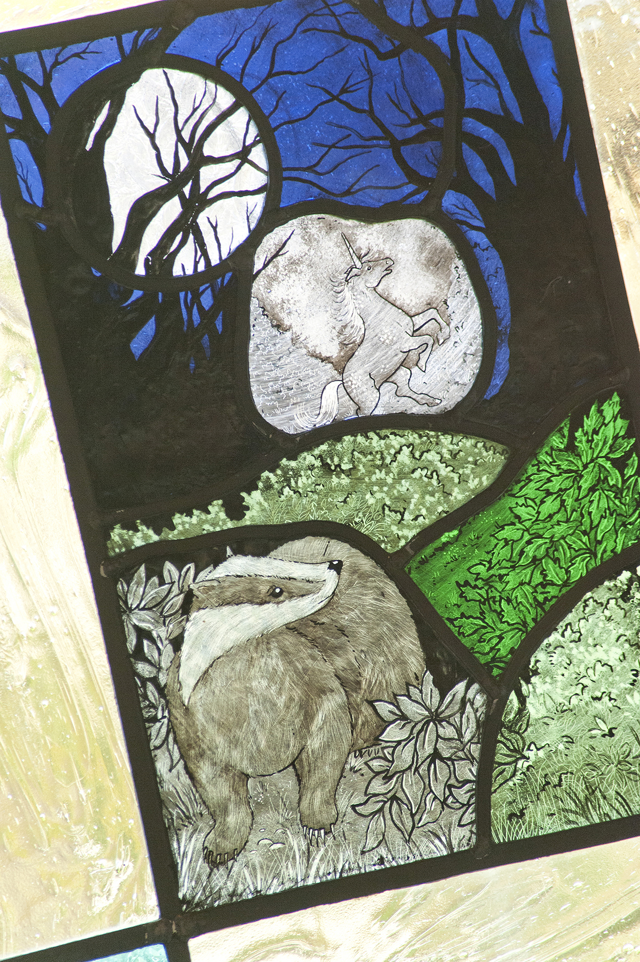 stained glass badgers